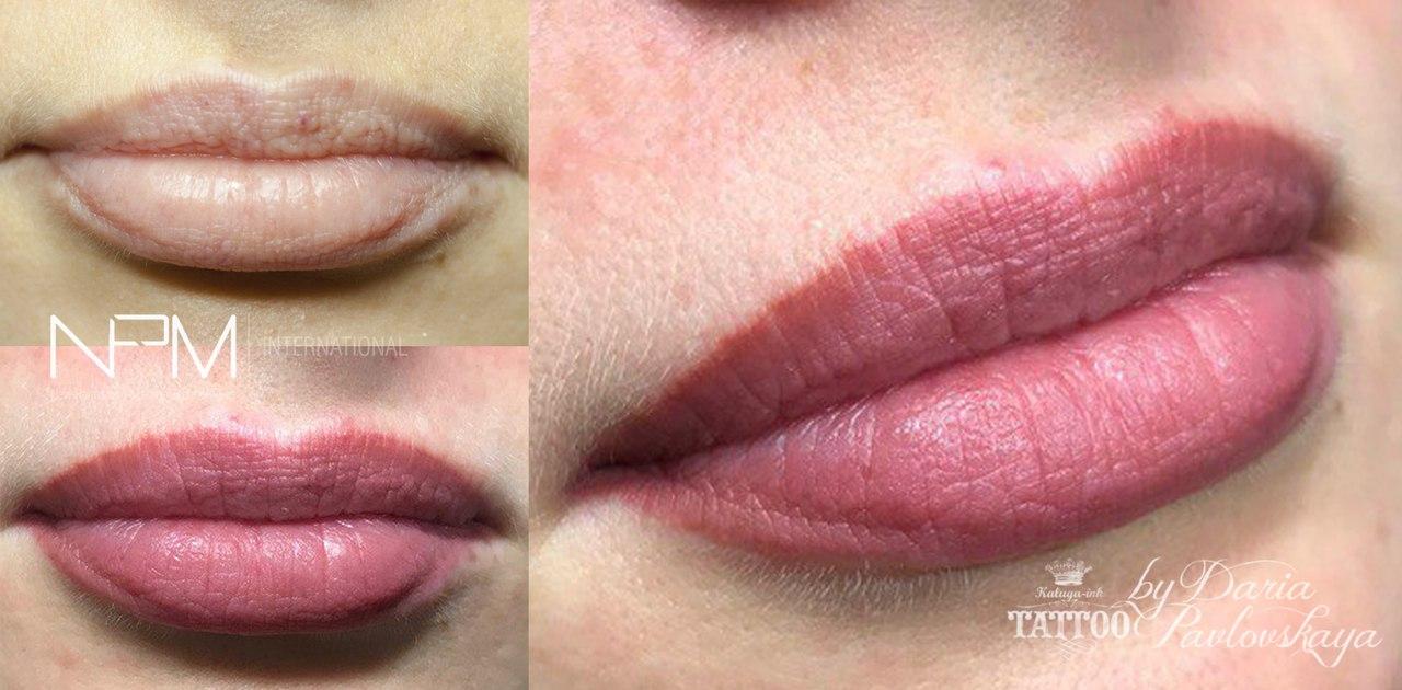 Заживший татуаж губ в технике «Эффект помады»