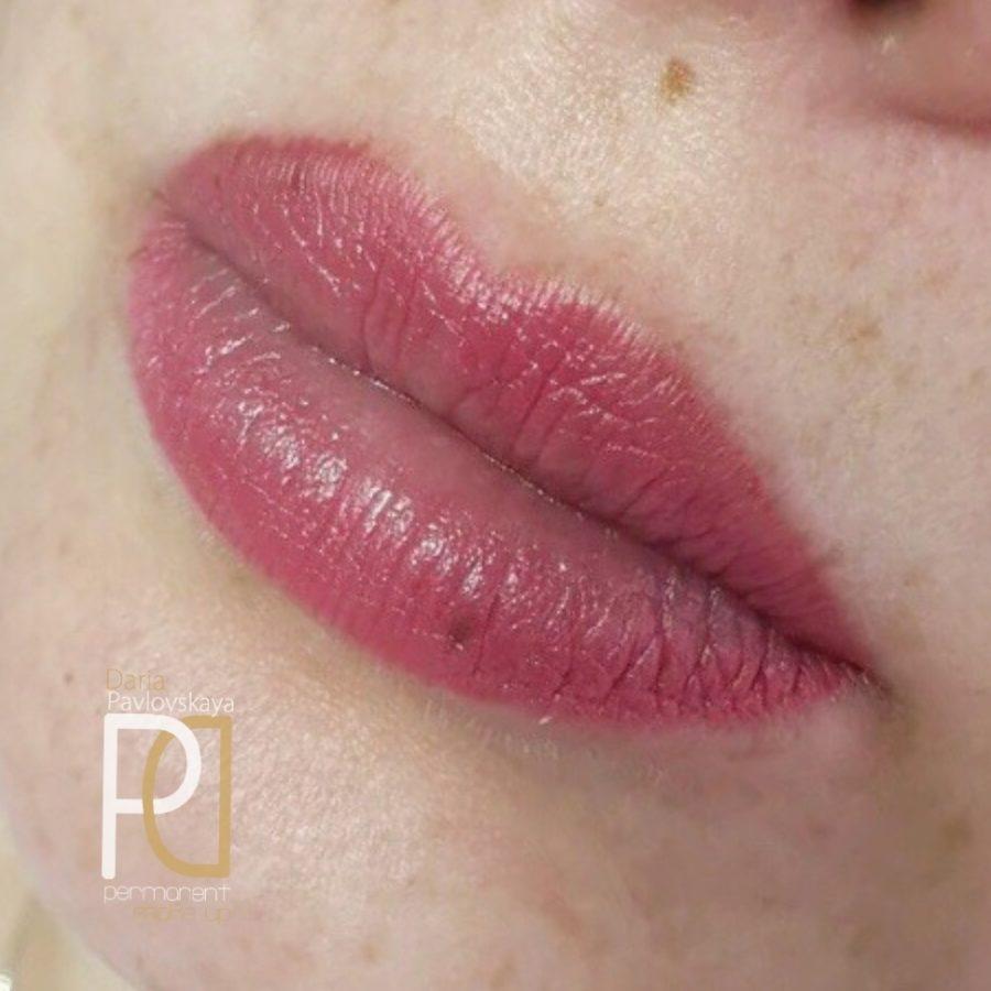Дарья Павловская. Заживший татуаж губ спустя 1 год в технике